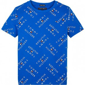Tommy Hilfiger kids boys all-over print logo t-shirt in de kleur kobalt blauw