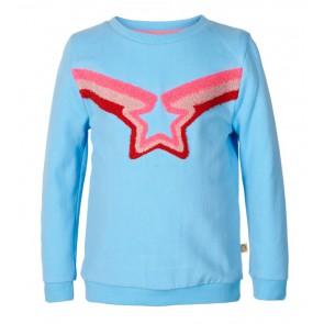 Le Big sweater trui met ster in de kleur lichtblauw/roze