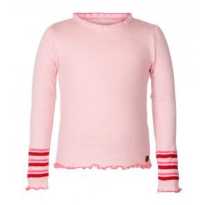Le Big girls fijngebreide top met rood/roze biesjes in de kleur zachtroze