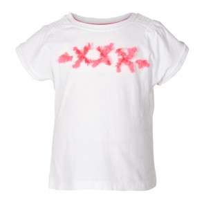 Le Big girls t-shirt met kusjes en ruches in de kleur wit