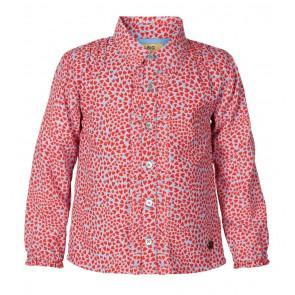 Le Big blouse met hartjes print in de kleur rood/lichtblauw