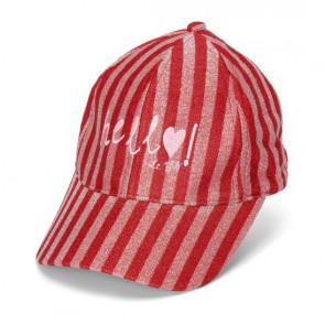 Le big girls glitter pet cap hello met strepen in de kleur rood/roze