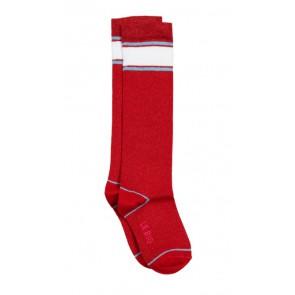 Le big glitter kniekous met streep  in de kleur rood