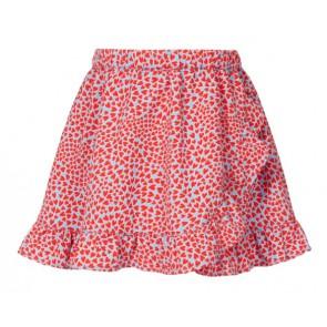 Le big girls rok met ruches en hartjes print in de kleur rood/lichtblauw