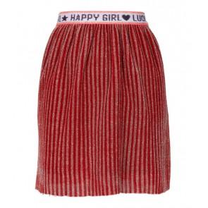 Le big girls glitter pliseé rok in de kleur rood/roze