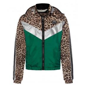 Retour jeans girls zomerjas Carrie met panterprint in de kleur groen/zilver