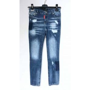 My brand junior kids jeans broek blue distressed met spetters en scheuren in de kleur jeansblauw