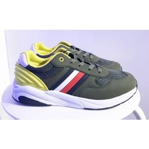 Tommy Hilfiger kids boys low cut sneaker in de kleur geel/armygroen