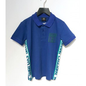 My Brand junior boys polo t-shirt met logo bies in de kleur kobalt blauw