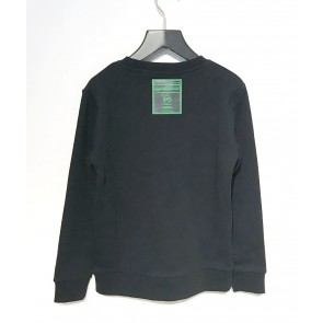 My Brand junior boys sweater trui met neon groene logo print in de kleur zwart