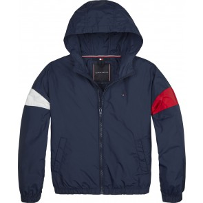 Tommy Hilfiger kids boys essential hooded jacket in de kleur donkerblauw