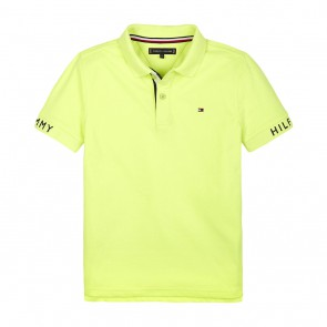 Tommy Hilfiger kids  boys polo shirt in de kleur neon geel