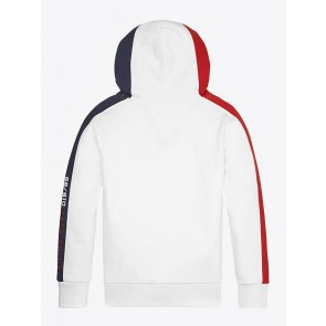 Tommy Hilfiger kids boys sailing colorblock hooded sweater in de kleur off white