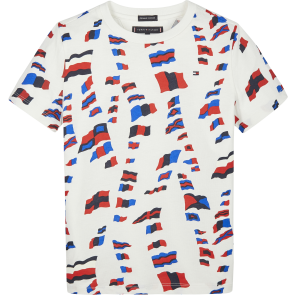 Tommy Hilfiger kids boys bots t-shirt met all over print in de kleur wit