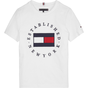Tommy Hilfiger kids boys t-shirt flag tee met logo print in de kleur wit