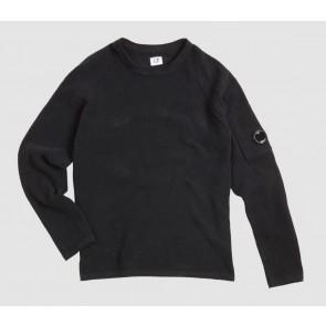 CP Company kids junior fijngebreide trui van katoen met lens in de kleur zwart