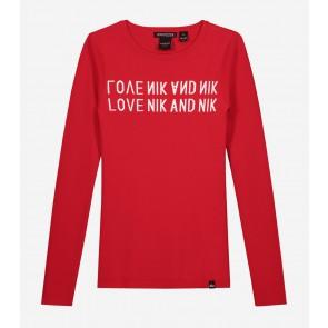 Nik en Nik kids girls juniper top in de kleur poppy red rood