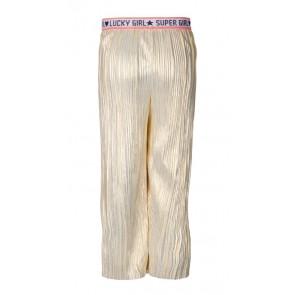 Le Big wijde pliseé broek met glitter band in de kleur goud