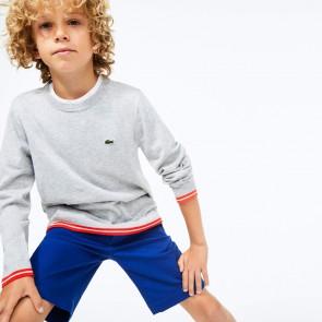 Lacoste kids boys fijngebreide trui met rode bies in de kleur grijs
