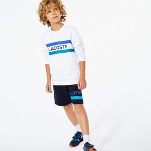 Lacoste kids boys sweater trui met srtrepen en logo print in de kleur wit