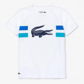 Lacoste kids boys t-shirt met krokodillen print in de kleur wit