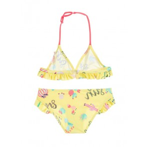 Billieblush triangel bikini met ruches en cactus print in de kleur geel