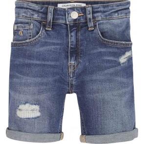 Calvin Klein jeans kids slim short gleam destroyed in de kleur jeansblauw