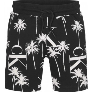 Calvin Klein jeans kids boys sweatshort palm all over print in de kleur zwart