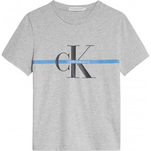 Calvin Klein jeans kids monogram stripe t-shirt in de kleur grijs