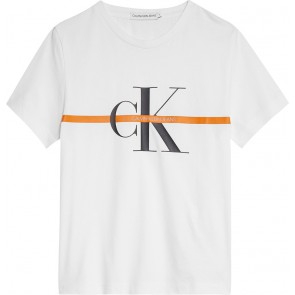 Calvin Klein jeans kids monogram stripe t-shirt in de kleur wit
