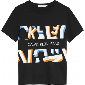 Calvin Klein jeans kids all over print t-shirt in de kleur zwart
