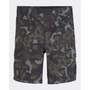 Tommy Hilfiger kids boys korte broek camouflage cargo shorts in de kleur army green