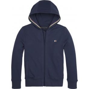 Tommy Hilfiger kids boys tape detail hoodie sweatvest in de kleur donkerblauw
