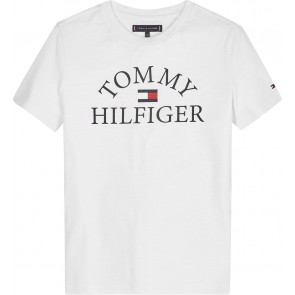 Tommy Hilfiger kids boys essential logo tee t-shirt in de kleur wit