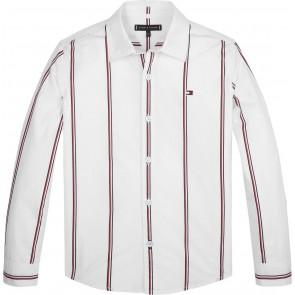 Tommy Hilfiger kids boys global stripe shirt blouse in de kleur wit