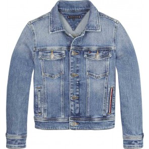Tommy Hilfiger kids boys trucker jacket destructed blue stretch jeansblauw