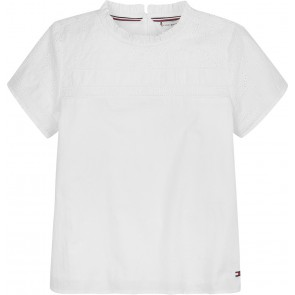 Tommy Hilfiger kids girls broderie anglaise top met kant in de kleur wit