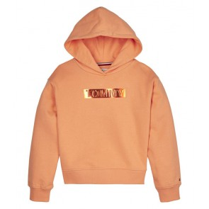 Tommy Hilfiger kids girls tommy foil label hoodie sweater trui in de kleur oranje