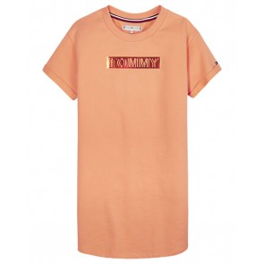 Tommy Hilfiger kids girls tommy foil label sweat dress jurk in de kleur oranje