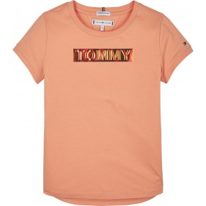 Tommy Hilfiger kids girls tommy foil label tee in de kleur lemon orange oranje