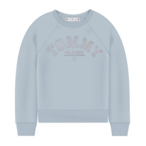 Tommy Hilfiger kids girls sweater trui embroidered graphic calm blue lichtblauw
