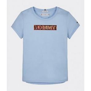 Tommy Hilfiger kids tommy foil label tee t-shirt in de kleur lichtblauw