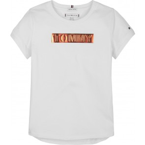 Tommy Hilfiger kids girls t-shirt tommy foil label tee in de kleur wit