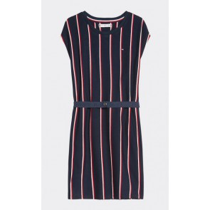 Tommy Hilfiger kids girls vertical stripe dress jurk in de kleur donkerblauw
