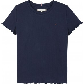Tommy Hilfiger kids girls shirt rib knit top in de kleur donkerblauw