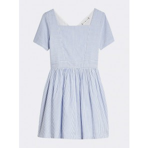 Tommy Hilfiger kids girls Ithaka stripe dress met fijne streep in de kleur lichtblauw