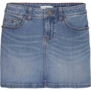 Tommy Hilfiger kids girls jeans rok denim skirt in de kleur jeansblauw