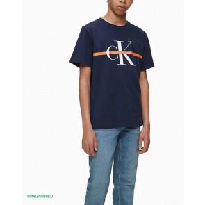 Calvin Klein kids boys monogram stripes t-shirt in de kleur donkerblauw