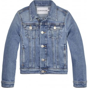 Calvin Klein jeans girls stretch trucker jacket met rugprint in de kleur jeansblauw