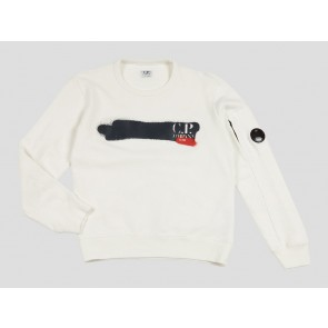 CP Company kids junior sweater trui met logo print 020 in de kleur off white